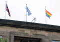 The rainbow pride flag flying over Moray Council's offices in Elgin.