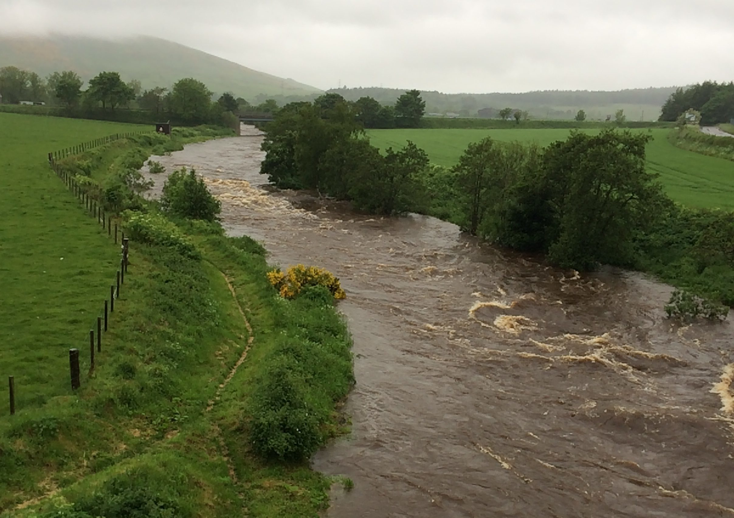 The River Deveron has been swelled by heavy rain.