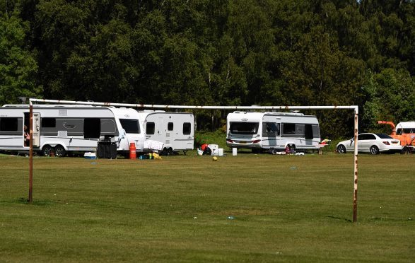 Travellers have pitched on playing fields owned by Aberdeenshire council at Glebe Park, Drumoak.