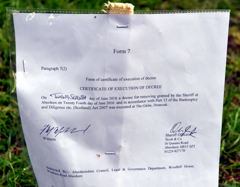 An eviction order was issued to move the travellers on