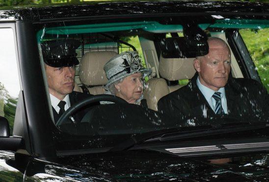 The Queen arrives at Crathie Kirk, Aberdeenshire
