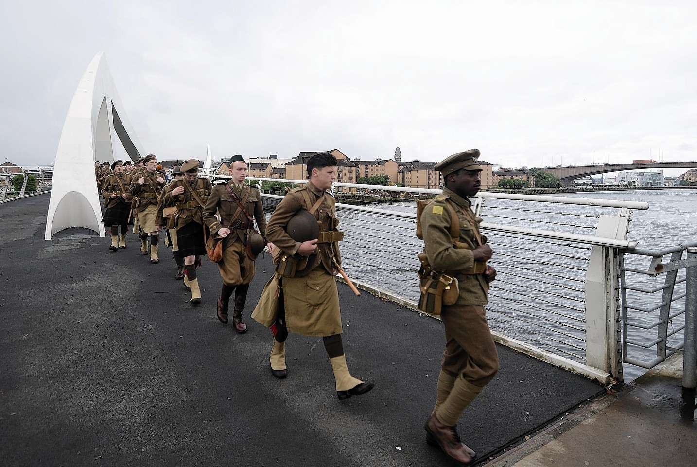 People dressed as soldiers as part of a mysterious tribute to mark the centenary of the Battle of the Somme that has popped up in Glasgow.
