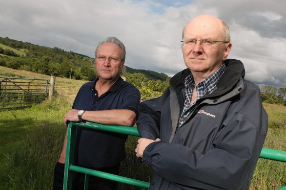Glenurquhart wind farm protest. Dan Luscombe, secretary of STAG (Stop Turbines At Glenurquhart) and Cliff Green, treasurer of STAG. Pictures: Andrew Smith