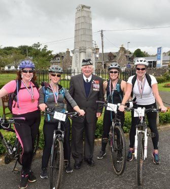 Bill Adie, legion member, with Kelly Signorini, Nicola McIntosh, Leigh Duncan and Claire Gray (Picture: Colin Rennie)