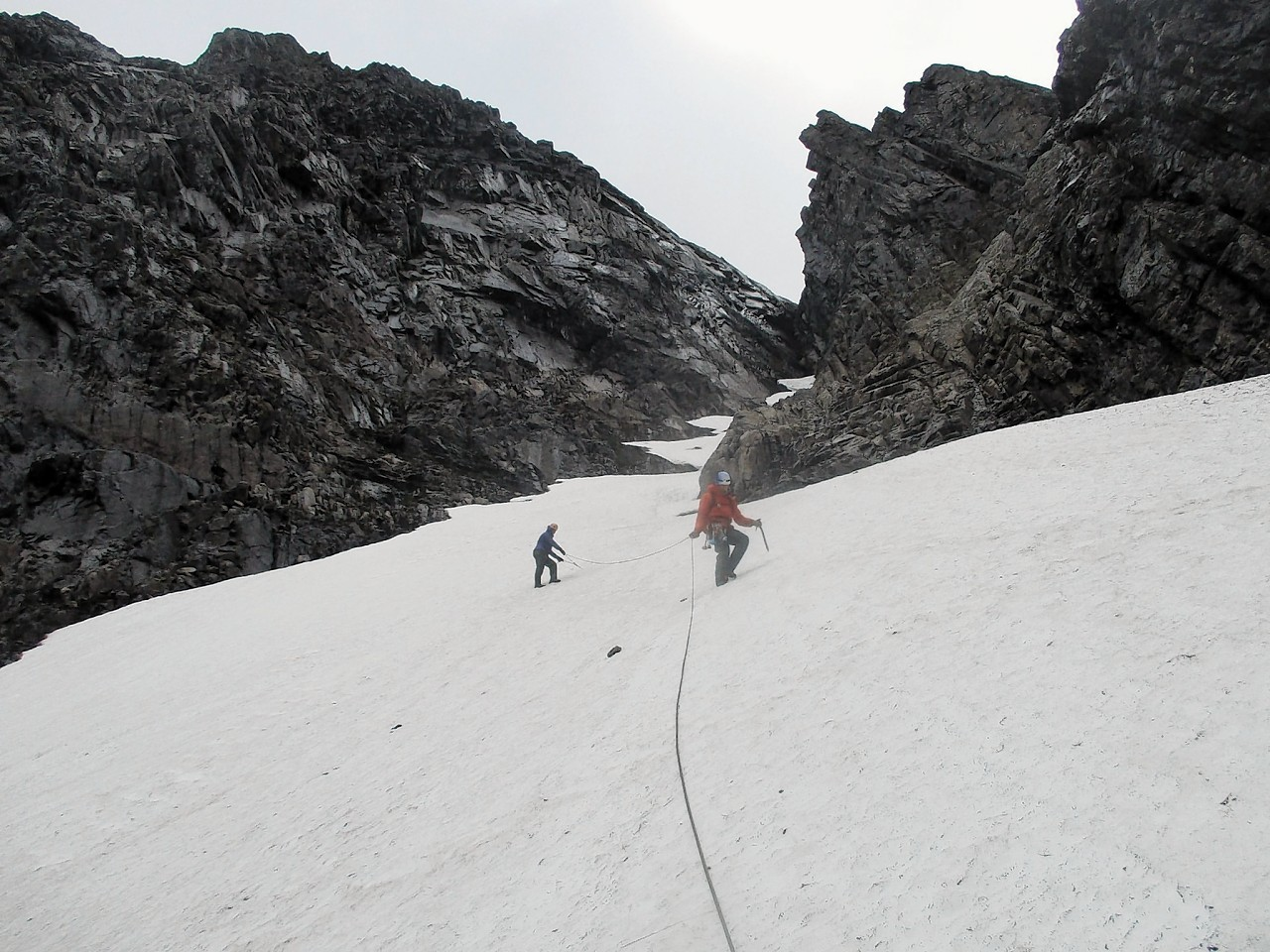 High snow depth on North Face of Ben Nevis in Summer