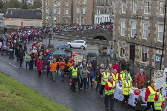 Protestors in Wick at bed cuts in Caithness