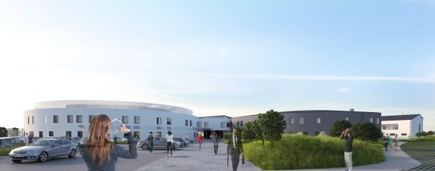 An artist's impression of Orkney's new hospital and healthcare facility.