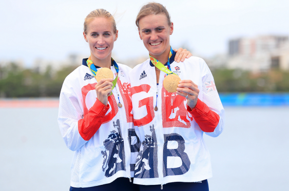 Helen Glover and Heather Stanning with their medals