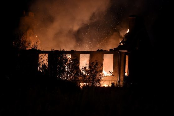 A fire in the disused Hillside House, Portlethen Picture by Jim Irvine