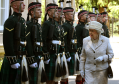 Queen Elizabeth II inspects the 2nd Battalion Royal Highland Fusiliers  The Royal Regiment of Scotland at the gates of Balmoral as she takes up her summer residence.