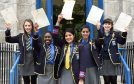 St Margaret's School pupils Keren Lumsden, Meene Otakoro, Ayesha Pasha, Nida Wani and Emily Owen who all scored A's in their exams. (Picture: Kevin Emslie)