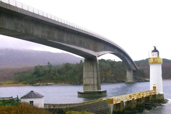 The A87 crosses Skye Bridge