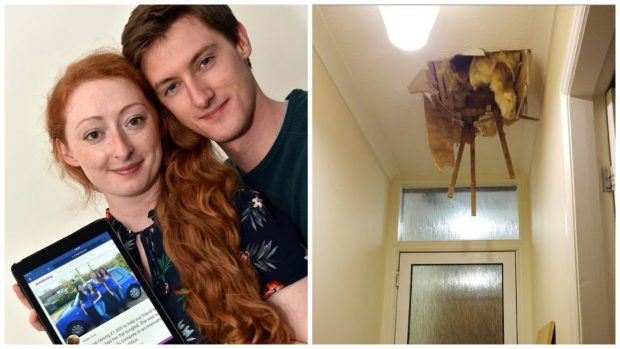 Alice Mills with boyfriend Nick Payne and the damage to her ceiling.