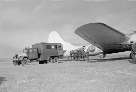 A patient being airlifted from Benbecula in May 1943