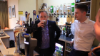 Alex Salmond samples a pint at Perth Races