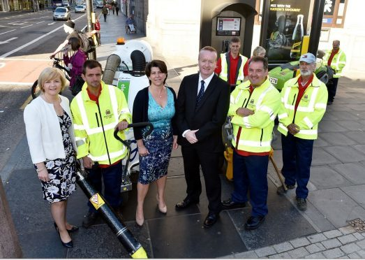 The launch of Operation Union Street Rejuvenation. The Hit Squad  with (from left) Aberdeen City Council Leader Jenny Laing, Deputy Leader Marie Boulton and Aberdeen Inspired Chief Executive Adrian Watson.  Picture by COLIN RENNIE