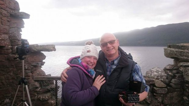 Vanessa Williams with her fiance Michael Clark who proposed at Urquhart Castle