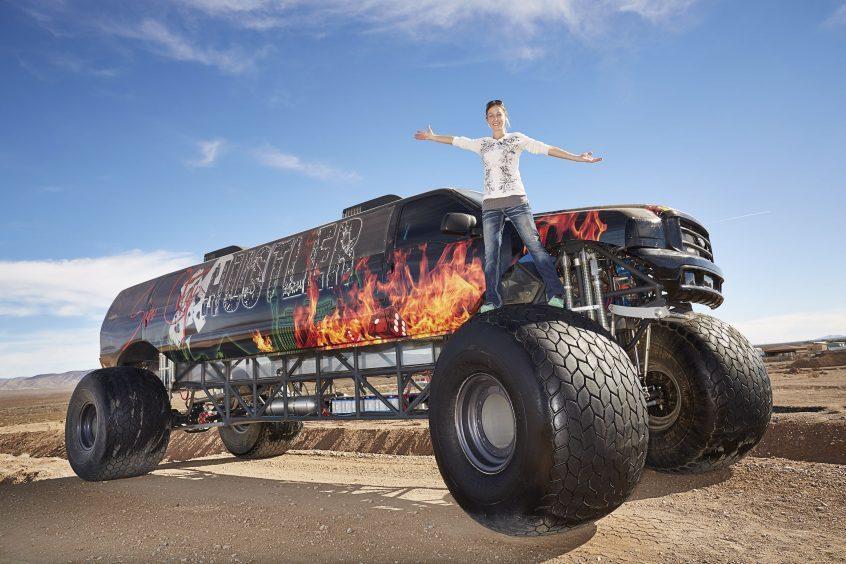 Jen Campbell on the Longest Monster Truck in White Hills, Arizona, USA