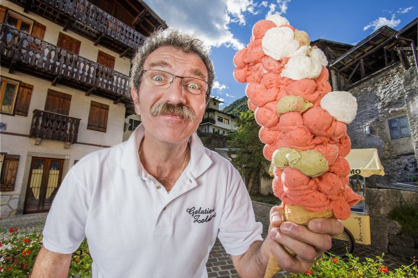 Most ice cream scoops balanced on a cone by Dimitri Panciera from Dont, Italy.
