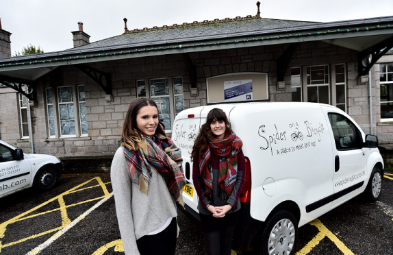 """L-R Sisters Emma and Hollie Petrie who are going to open a new cafe called """"Spider on a Bicycle"""" in the old station at Station Square, Aboyne."""