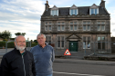 George Turnbull, right, director of Fochabers Village Association and joint project manager of the Institute refurbishment, and Stewart Harris, left, director of FVA and member of the Institute project team, outside the Fochabers Institute. Picture by Gordon Lennox 03/10/2016