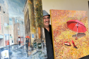 Artist, David Paterson, with paintings inspired by the Two Red Shoes dance hall to be displayed at his exhibition in The Gallery, Elgin Library. Picture by Gordon Lennox
