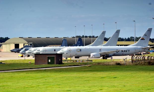 Poseidon P-8 aircraft lined up at RAF Lossiemouth