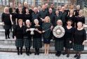 Royal National Mod, Stornoway 2016 Winners of the Lorn Shield for the first time, Barra Gaelic Choir with their conductor Lisa MacNeil in the centre.