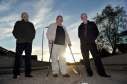 Lee Paxton, Robert Murdoch, and John Hamilton, standing in the road at Halliman Way, Lossiemouth. Picture by Gordon Lennox.