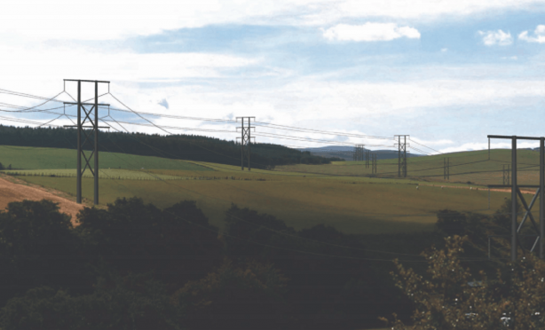 An artist impression of the power lines by SSEN from Milltown of Auchindoun looking west.