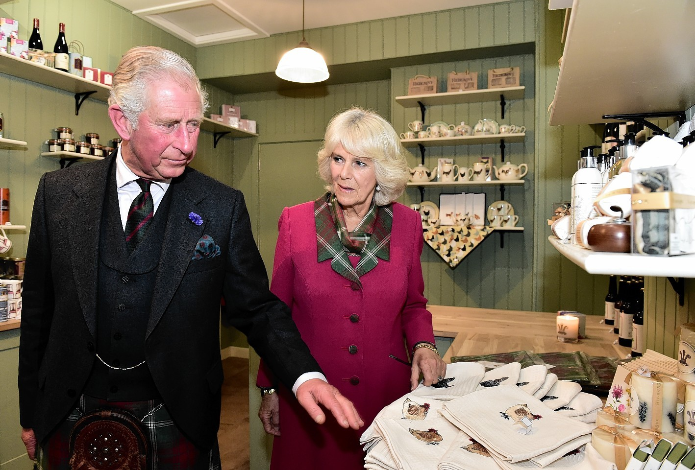 The Duke of Rothesay, Prince Charles, accompanied by Camilla the Duchess of Rothesay, previewed the new Rothesay Restaurant and Highgrove shop in Ballater. Picture by Kami Thomson