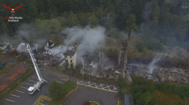 Drone footage shows the aftermath of the massive hospital fire