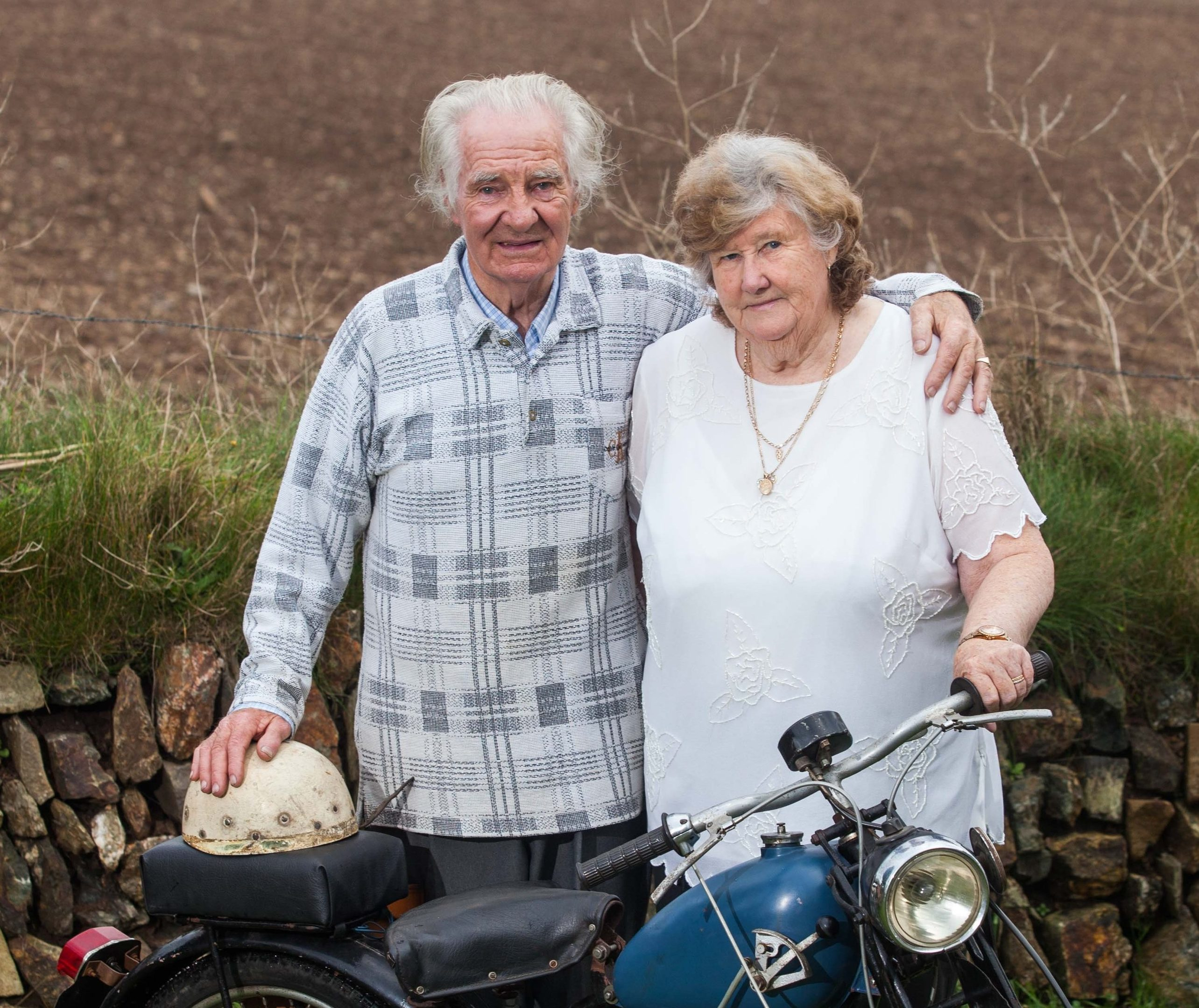 Jean and Bob Smith on their motorbike.
