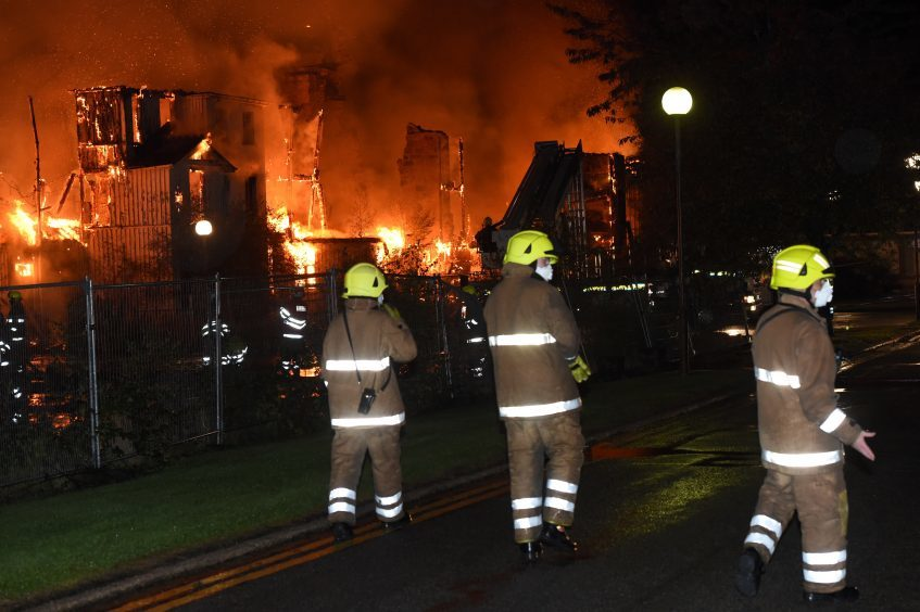 Fire and Rescue services tackle a fire at Glen O'Dee Hospital in Banchory.  Picture by KEVIN EMSLIE