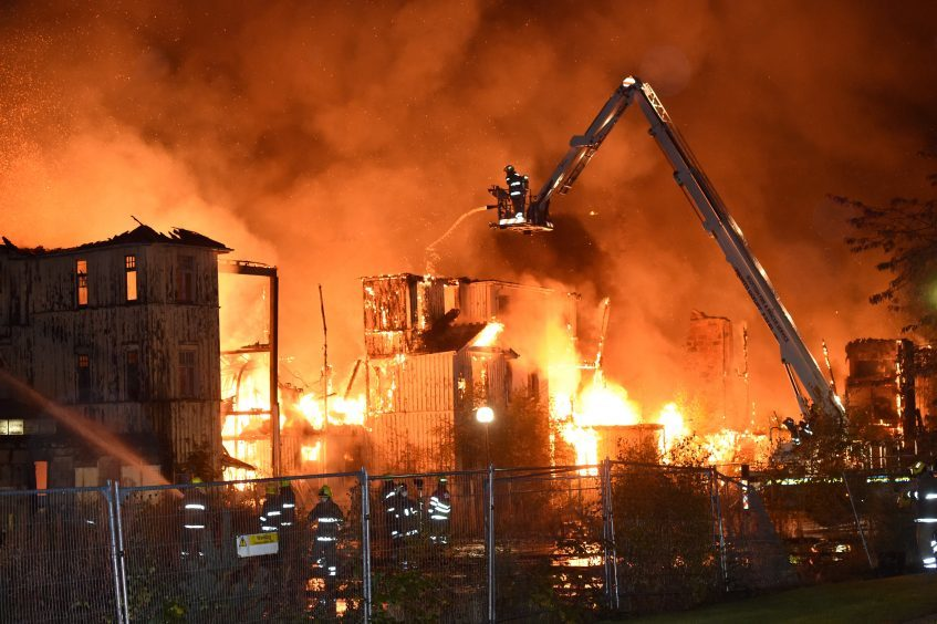 Fire and Rescue services tackle the fire at Glen O'Dee Hospital in Banchory, October 2016.