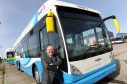 Councillor Barney Crockett with one of Aberdeen's eco-friendly hydrogen buses