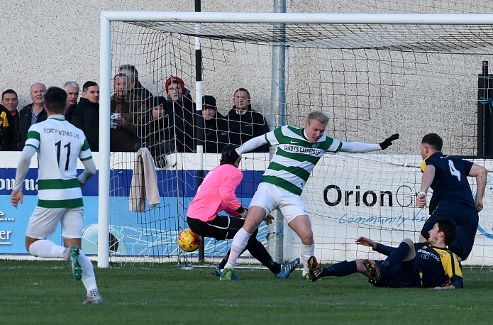 A scramble in the Clach goalmouth which gave Buckie their first goal of the match (Pics by Sandy McCook)