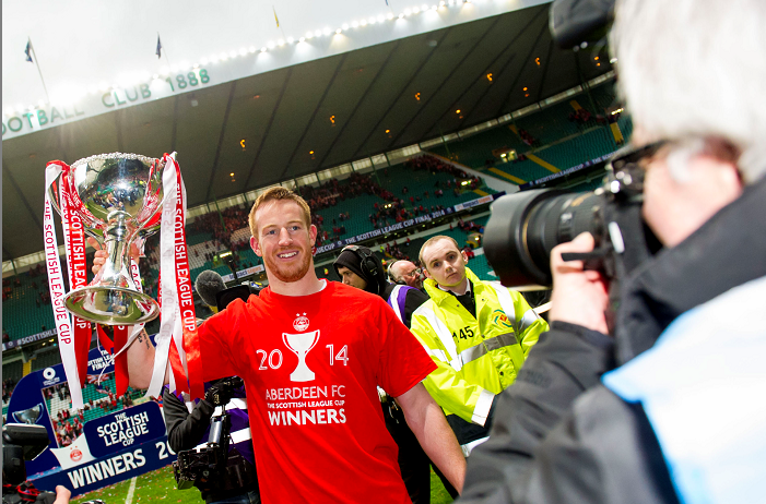 Aberdeen hero Adam Rooney with the Scottish League Cup trophy