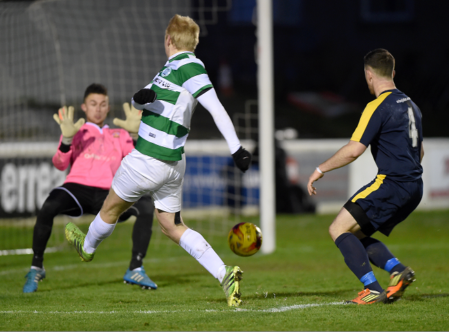 Christopher Angus for Buckie puts a shot wide in the second half