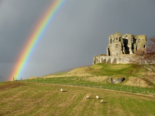 Rainbow over Auchindoun Castle near Dufftown on Good Friday. Picture courtesy of reader Colin Mackenzie, of near Dufftown