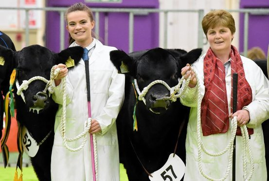 Hayley Massie (left) with the bull calf champion, and Susan Johnstone with the reserve.