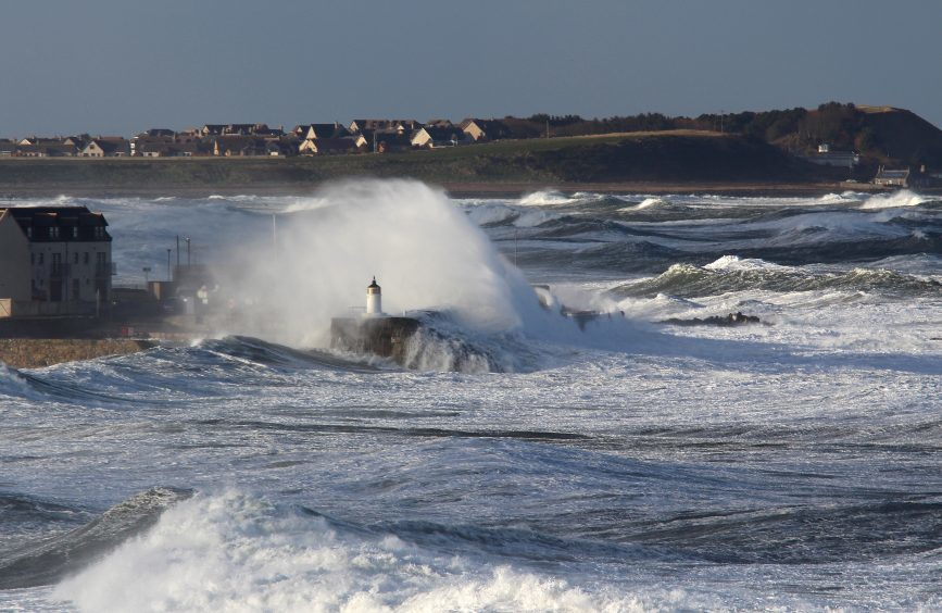 The raging sea at the entrance to Banff Marina. Picture courtesy of reader Tom McLennan, Banff