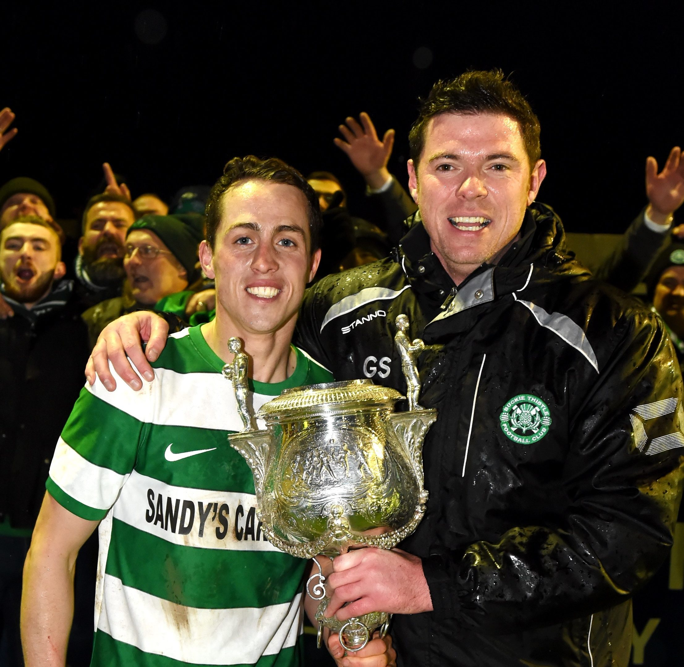 Buckie Thistle captain Kevin Fraser and manager Graeme Stewart.