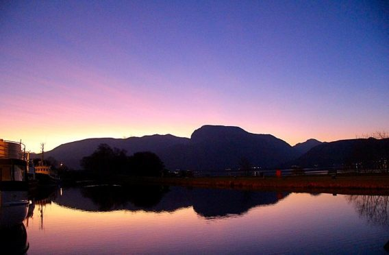 Ben Nevis at sunrise from the Caledonian Canal at Corpach. Picture courtesy of reader Bill Cameron