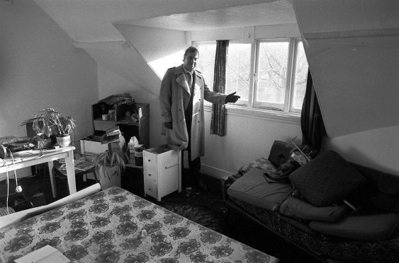 Estate agent Leon Roberts at Nilsen's flat in 1983