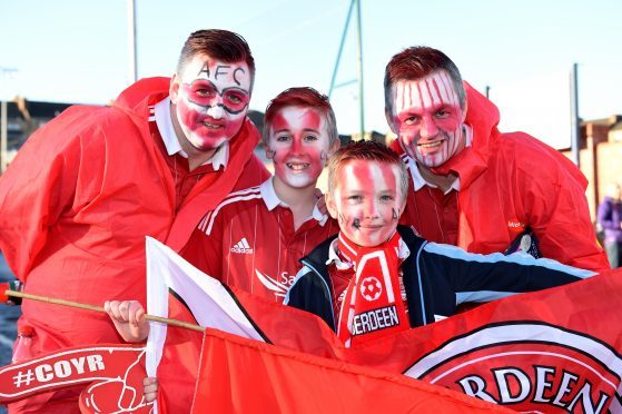 Betfred Cup final 2016 at Hampden Park. Aberdeen v Celtic.  Picture of (L-R)David Paterson, Kyle Paterson, 12, Nathan Fothergill, 9, John Forthergill.  Picture by KENNY ELRICK     27/011/2016