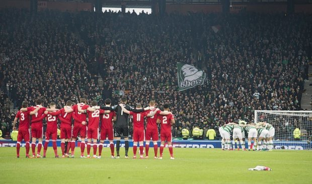 The teams line up for the League Cup final in November