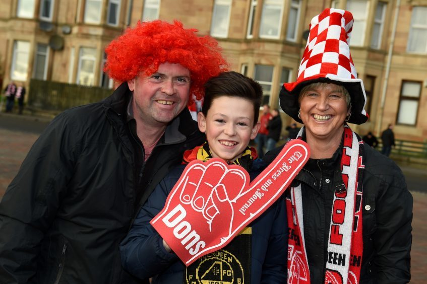 Betfred Cup final 2016 at Hampden Park. Aberdeen v Celtic.  Picture of Martin Knowles, Daniel Knowles, 12, Susan Knowles.  Picture by KENNY ELRICK     27/011/2016