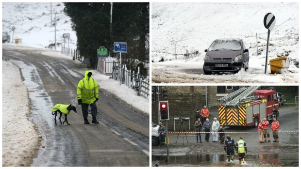 Heavy snow and freezing conditions started the day in the village of Wanlockhead in Dumfries and Galloway, while torrential downpours caused flash-flooding and travel chaos south of the border.