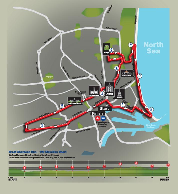 The 10k route around Aberdeen